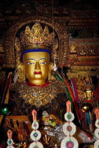Stock Photo: 1848-197190 Buddha statue, Palcho Monastery or Pelkor Chode Monastery or Shekar Gyantse, Gyantse, Tibet