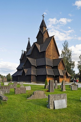 Stock Photo: 1848-197330 Exterior, Heddal Stave Church Heddal Stavkirke, thirteenth_century stave church in Norway, Scandinavia, Europe