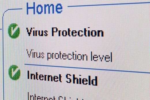 Screenshot Virus Protection : Stock Photo