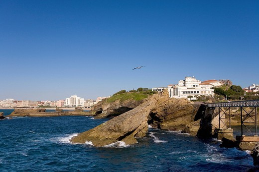 Rocky coast, Biarritz, Basque country, Southern France, France, Europe : Stock Photo