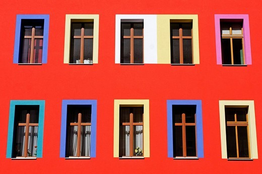 Colourful building in the Kreuzberg district, Berlin, Germany, Europe : Stock Photo