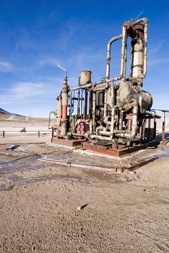 Old ruined geothermal plant at the geyser field of Tatio, Chile : Stock Photo