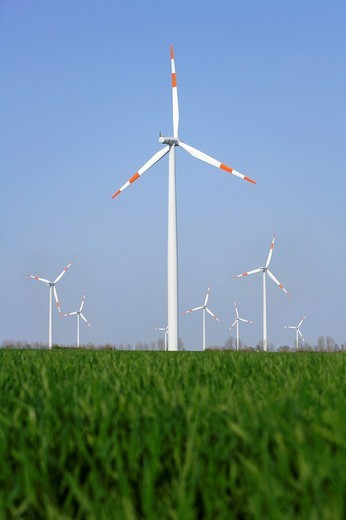 Wind turbines, Tundersleben, Saxony_Anhalt, Germany, Europe : Stock Photo