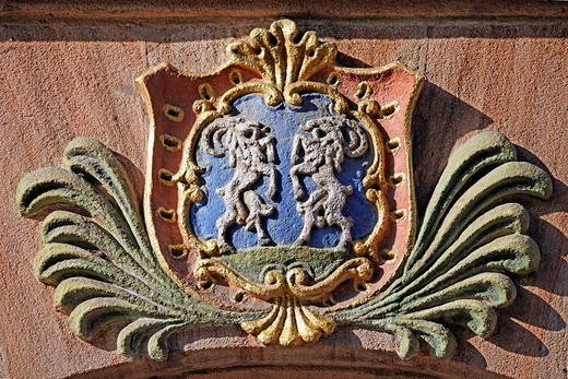 Coat of arms with two goats, above a house door, old town, Nuremberg, Middle Franconia, Franconia, Bavaria, Germany, Europe : Stock Photo