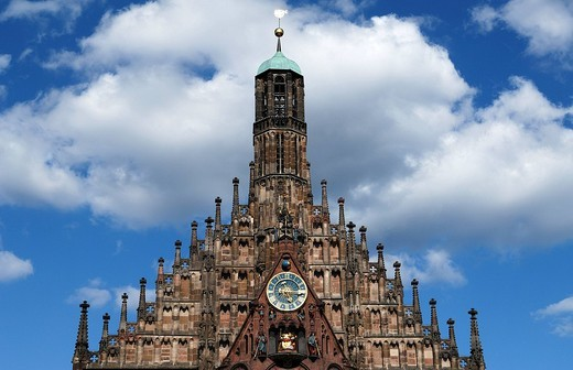 Gable with carillon and turret clock at the Frauenkirche Church of Our Lady, Gothic, circa 1355, Nuremberg, Middle Franconia, Germany, Europe : Stock Photo