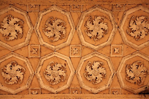 Ceiling design, detail, Palladin Bridge, Palladian bridge, 18th century, Stowe garden landscape, Stowe, Buckingham, Buckinghamshire, England, United Kingdom, Europe : Stock Photo