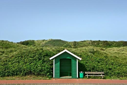 Hackney cab shelter, Juist, East Frisian Islands, Lower Saxony, Germany : Stock Photo