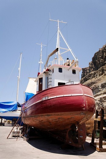 Stock Photo: 1848-199189 Old German fishing cutter in Puerto de Morgan harbour for restoration work, Gran Canaria, Canary Islands, Spain, Europe