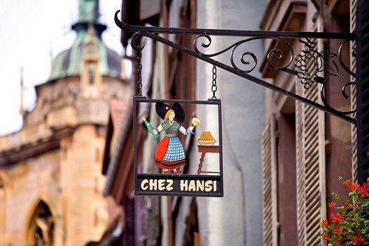 Sign, restaurant, historic town centre, Colmar, Alsace, France, Europe : Stock Photo
