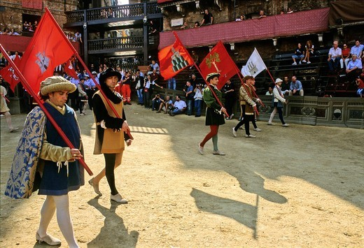Stock Photo: 1848-199642 Historic Palio horse race, participants carrying banners representing the Contrada di Torre, Tower District, Piazza Il Campo, Siena, Tuscany, Italy, Europe