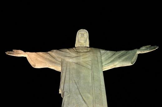 Statue of Christ at night, Rio de Janeiro, Brazil, South America : Stock Photo