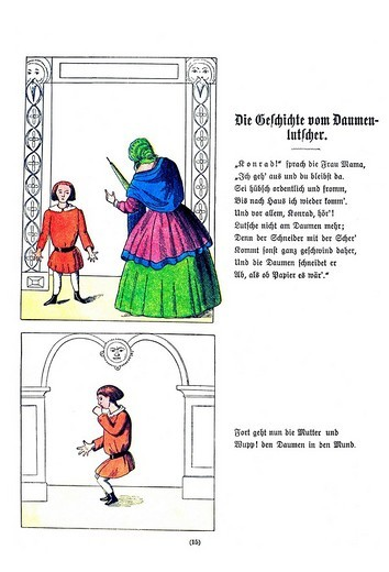 Book illustration, Die Geschichte vom Daumenlutscher, The Story of Little Suck_a_Thumb, Der Struwwelpeter, Shaggy Peter, Dr. Heinrich Hoffmann, 1876 : Stock Photo