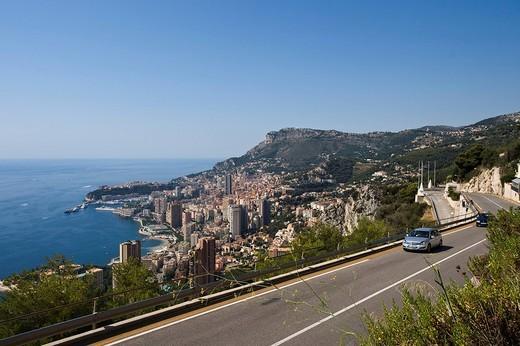 View of Corniche from Monte Carlo, Cote d´Azur, Monaco, Europe : Stock Photo