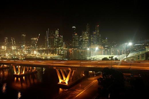 Skyline and freeway, Singapore, Asia : Stock Photo