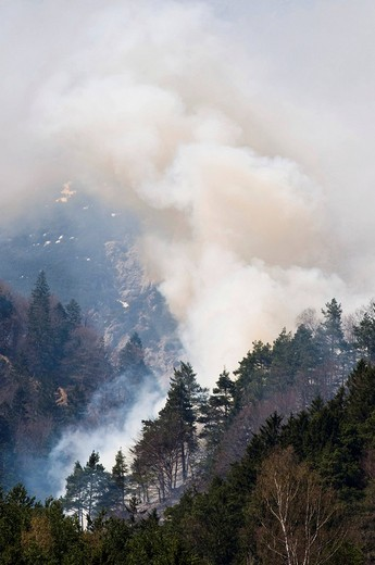 Forest fire in the Karwendel Range near Innsbruck, Tyrol, Austria : Stock Photo