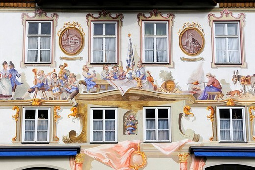 Facade decorated with mural paintings called Lueftlmalerei at an inn in Oberammergau, district of Garmisch_Partenkirchen, Bavaria, Germany, Europe : Stock Photo