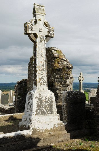 Weathered celtic style highcross mounted in the ruins of the old church of Slane Hill covered with white lichen, Slane Co Meath Ireland : Stock Photo