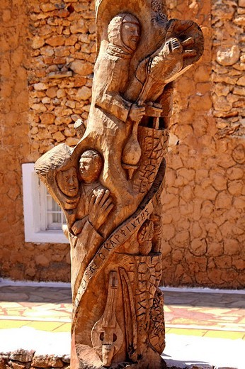 Wood sculpture, Lychnostatis open_air museum, museum of local history, museum of traditional Cretan life, Hersonissos, Crete, Greece, Europe : Stock Photo
