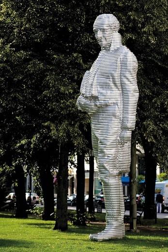 Statue of Count Montgelas, Alter Botanischer Garten old botanical garden in Munich, Bavaria, Germany, Europe : Stock Photo
