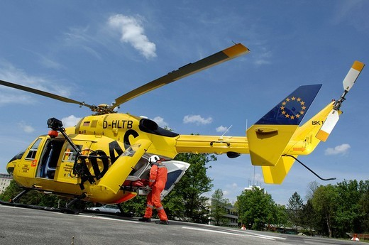 Rescue helicopter Christoph1 in action, Munich, Upper Bavaria, Germany : Stock Photo