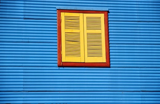 Colourful facade in the tourist alley Caminito in the dockland area La Boca, Buenos Aires, Argentina, South America : Stock Photo