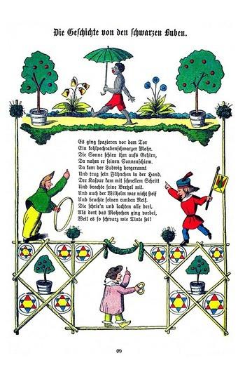 Book illustration, Die Geschichte von den schwarzen Buben, The Story of the Inky Boys, Der Struwwelpeter, Shaggy Peter, Dr. Heinrich Hoffmann, 1876 : Stock Photo