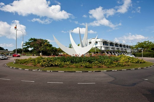 Bicentennial monument in a roundabout in front of Oceangate House, the capital city of Victoria, Mahe Island, Seychelles, Indian Ocean, Africa : Stock Photo