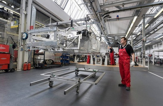 Stock Photo: 1848-202268 Audi employees assembling the frame of an Audi R8 sports car in the Audi R8 assembly hall, Baden_Wuerttemberg, Germany, Europe