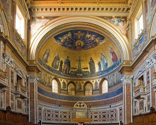 Apse decorated with mosaics, Basilica of St John Lateran, Rome, Italy, Europe : Stock Photo