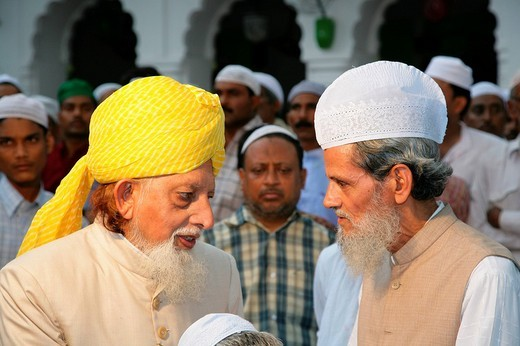 Muslim dignitaries, guests at a Sufi wedding, Sufi shrine, Bareilly, Uttar Pradesh, India, Asia : Stock Photo