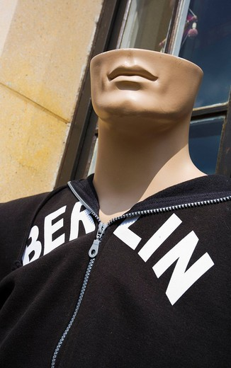 Stock Photo: 1848-203509 Mannequin with half a head wearing a Berlin shirt, Berlin, Germany