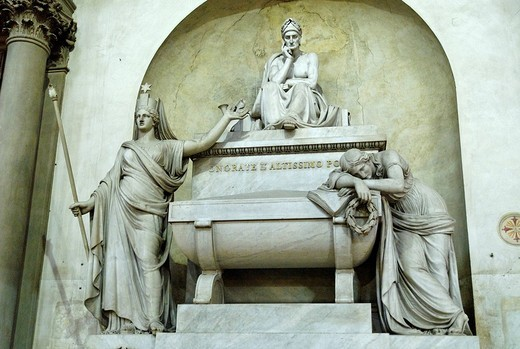 Stock Photo: 1848-203512 Tomb of Dante Allighieri in the Santa Croce Church, Florence, UNESCO World Heritage Site, Tuscany, Italy, Europe