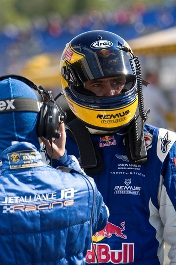Stock Photo: 1848-20353 FIA GT driver Karl Wendlinger preparing for a driver change, Brno, Czech Republic, Europe