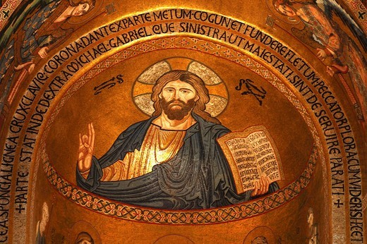 Stock Photo: 1848-203843 Jesus Christ mosaic Norman Palace Palatine Chapel Palermo Italy