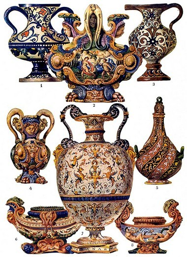 Stock Photo: 1848-203966 Italian majolica receptacles, modern times, Italian ornament