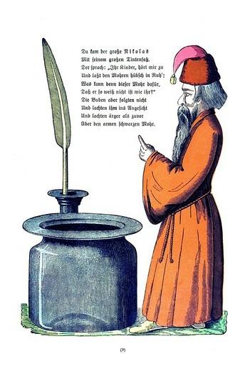 Stock Photo: 1848-203969 Book illustration, Die Geschichte von den schwarzen Buben, The Story of the Inky Boys, Der Struwwelpeter, Shaggy Peter, Dr. Heinrich Hoffmann, 1876