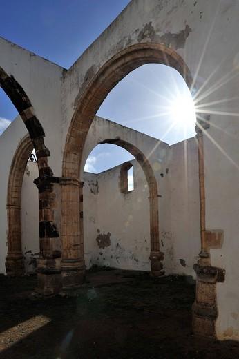 Ruins of the Iglesia Conventual de San Buenaventura, Convento de Buenaventura, former Franciscans Monastery, Betancuria, Fuerteventura, Canary Islands, Spain, Europe : Stock Photo