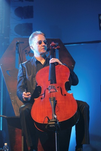 Mikko Sirén from the Finnish band, Apocalyptica, performing live at Blue Balls Festival in Lucerne Hall of the KKL Luzern, Culture and Convention Centre Lucerne, Switzerland, Europe : Stock Photo