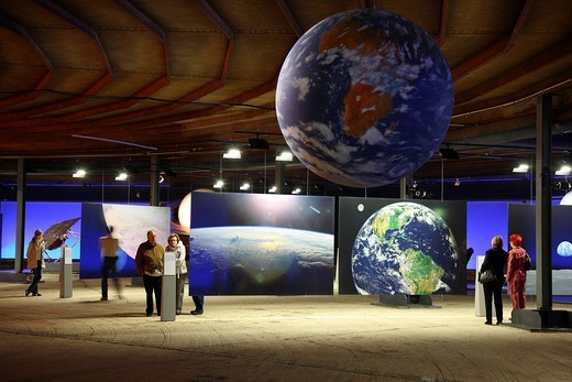 Stock Photo: 1848-204166 Three_dimensional representation of the Sun and her planets, Out of this World – Wonders of the Solar System, exhibition in the Gasometer, a former gas tank, Oberhausen, Ruhr Area, North Rhine_Westphalia, Germany, Europe