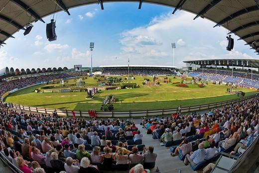 Show Jumping Nations Cup of the German Federal Republic, CHIO 2009 equestrian sports world festival, Aachen, North Rhine_Westphalia, Germany, Europe : Stock Photo
