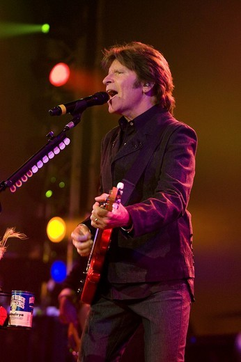 The U.S. singer and songwriter John Fogerty live at the Blue Balls Festival in the Luzernersaal hall of the KKL in Lucerne, Switzerland : Stock Photo