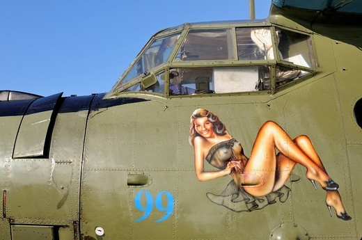 Nose art of a Russian multi_purpose aircraft Antonov AN_2, Germany, Europe : Stock Photo