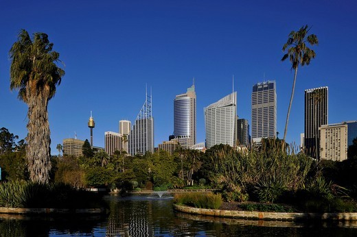 Stock Photo: 1848-204521 Sydney Tower or Centrepoint Tower, skyline of the Central Business District, Deutsche Bank, Royal Botanical Gardens, The Domain, Sydney, New South Wales, Australia