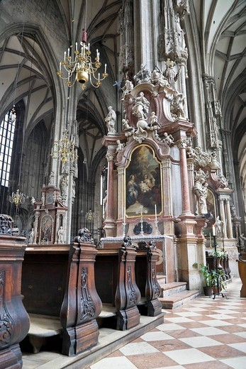 Interior view Stephansdom Vienna Austria : Stock Photo