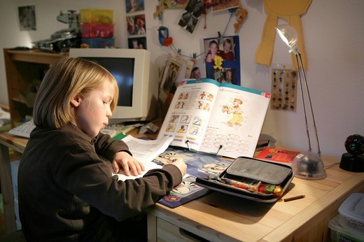 DEU, Germany: Young boy, student is learning for school, at home, English studies : Stock Photo