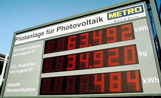 Stock Photo: 1848-20512 Pilot plant for photovoltaics, PV, digital scoreboard that creates electricity and reduces CO2 production, Metro Cash & Carry, Duesseldorf, North_Rhine Westphalia, Germany, Europe
