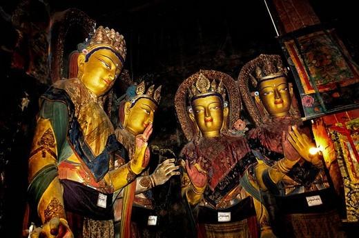 Stock Photo: 1848-205133 Several Buddha statues, Palcho Monastery or Pelkor Chode Monastery or Shekar Gyantse, Gyantse, Tibet