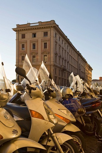 Stock Photo: 1848-205179 Mopeds parked near the central rail station in Rome, Italy, Europe