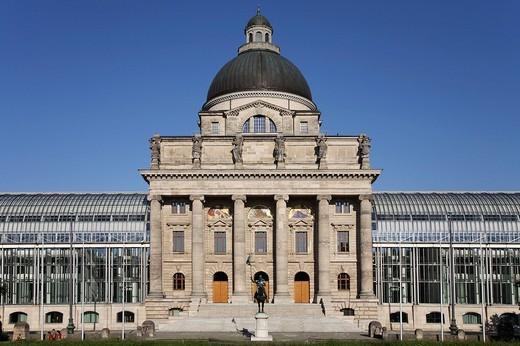 Bayerische Staatskanzlei, Bavarian State Ministry, Munich, Bavaria, Germany, Europe : Stock Photo