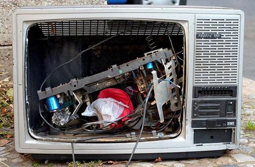 Broken television set, Germany : Stock Photo